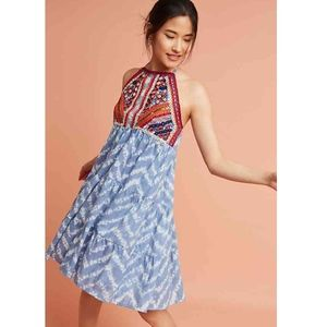 Anthropologie Tiered & Embroidered Tie-Dye Dres